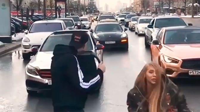 Давид и Карина перекрыли движение по Новому Арбату ради клипа